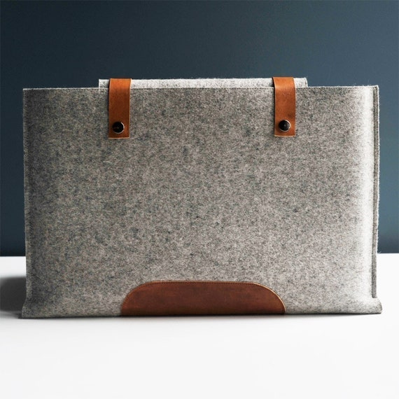 13 Inch Laptop Sleeve - Grey Wool Felt and Brown Leather