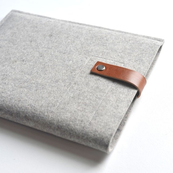 Ipad Sleeve - Grey Wool Felt and Brown Leather