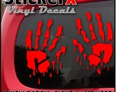 BLOODY HANDS Zombie Vampire Monster Prop Decal Sticker