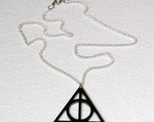 Harry Potter Deathly Hallows Acrylic Necklace - Black Laser Cut Pendant - Gamer Geek Nerd Jewelry
