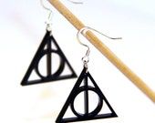 Harry Potter Deathly Hallows Acrylic Charm Earrings on Silver Toned Hooks