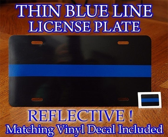 Thin Blue Line Metal License Plate Decal Police By Stickerx