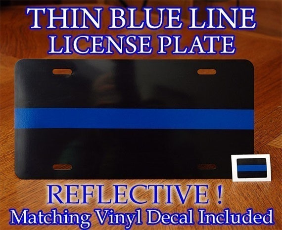 Thin Blue Line Metal License Plate Decal Police Sheriff Fop