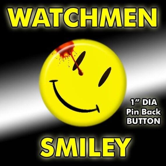 watchmen movie comedian smiley face pin button badge