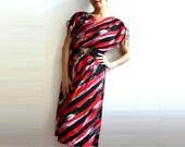JAD French VIntage 70s Red Black Graphic Dress