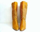 ELIA Italian Vintage 80s Mustard Cutout Leather  Boots