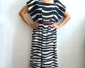 GERALDINE French Vintage 80s Semi Sheer Black and White Dress
