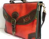 RUDOLPHE French Vintage Tangerine Satchel / Briefcase