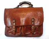 KATANA French Vintage Brown Leather Briefcase