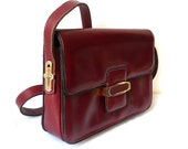 TANIA French Vintage Bordeaux Red Leather Shoulder Bag