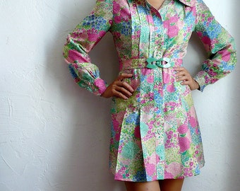 Silk Flower Buttons up Shirt Dress