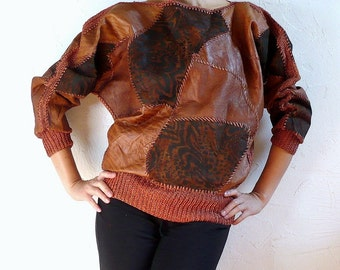 JANE French Vintage 70s Leather Patches Dolman Blouse
