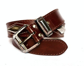 CLEMENT French Vintage Brown Leather  Belt with Losange Metal Charms