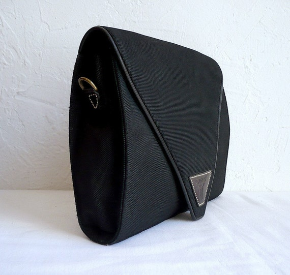 LORENZO Black Canvas and Leather Clutch/Shoulder Bag
