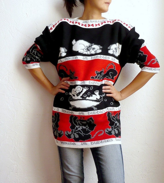 BUBBLE BATH French Vintage Oversize Chuncky Sweater