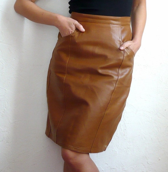 caramel vintage caramel brown leather skirt by bomode