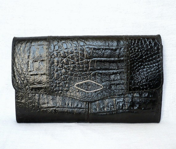 reserved for RENCOHA  JULIA French Vintage Black Leather Croco Motif Clutch Handbag/Shoulder bag