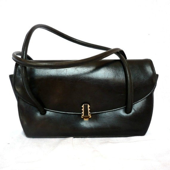 CONNIE French Vintage 50s Mini Black Leather Handbag