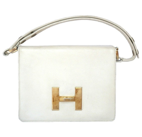 HELENA French Vintage 60s Off White Leather Handbag/Shoulderbag