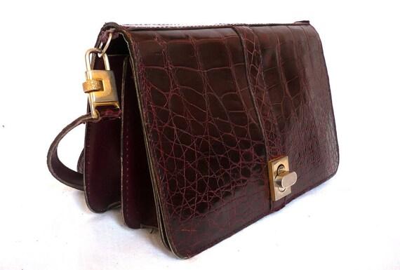 CATHERINE French Vintage Crocodile Leather Dark Bordeaux Clutch / Shoulder Bag