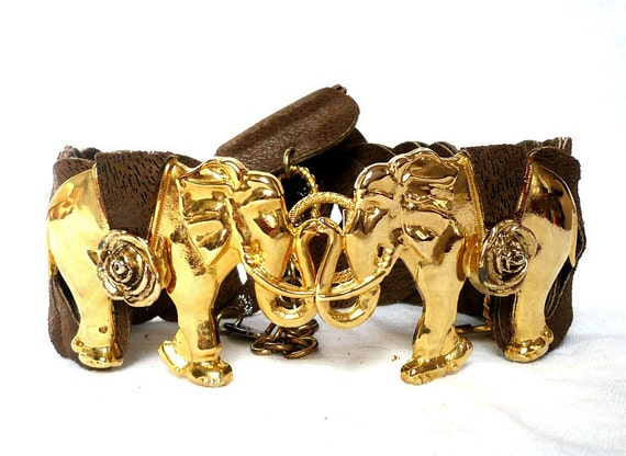 JOSE COTEL French Vintage Suede with Elephant Charms Belt