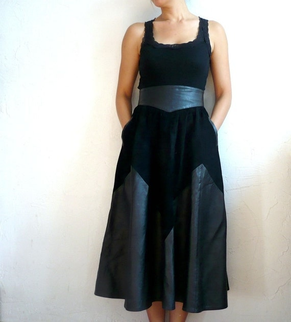 LINA French Vintage Black Leather Suede Maxi Skirt