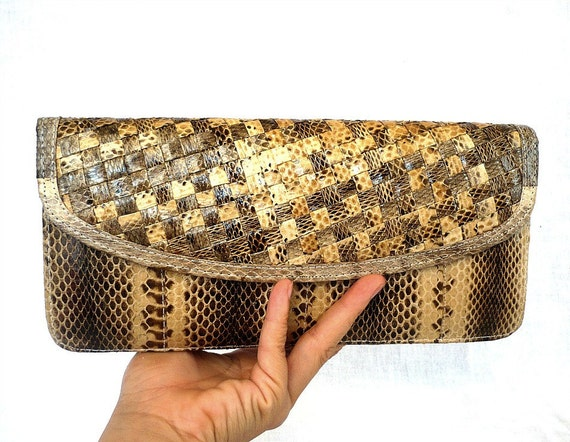 ELEANORE French Vintage 70s Snake Skin Leather Purse
