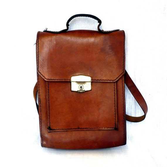 JANOT French Vintage 70s Rustic Leather Messenger Bag