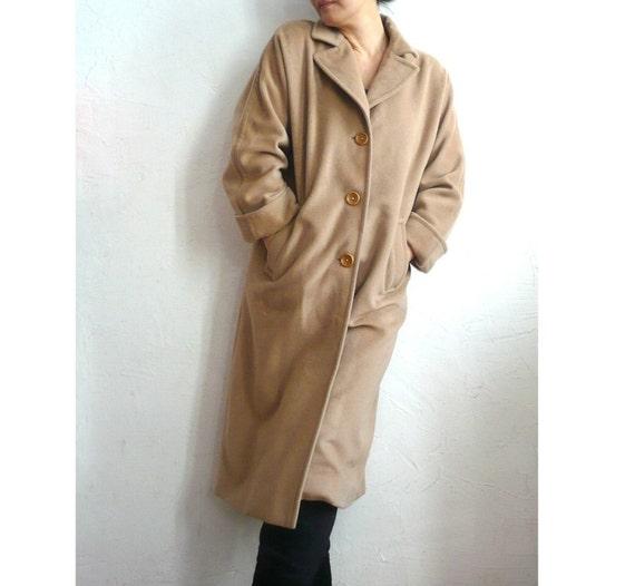 DAREL French Vintage Camel Wool Cashmere Coat