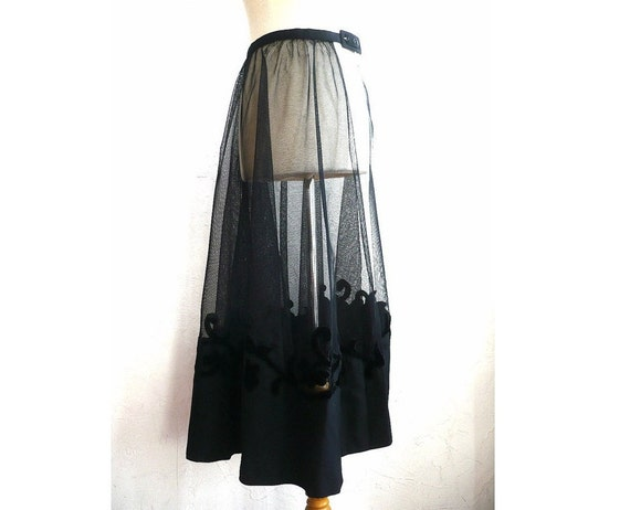 LAURE French Vintage Maxi Tule Skirt with Embroidery