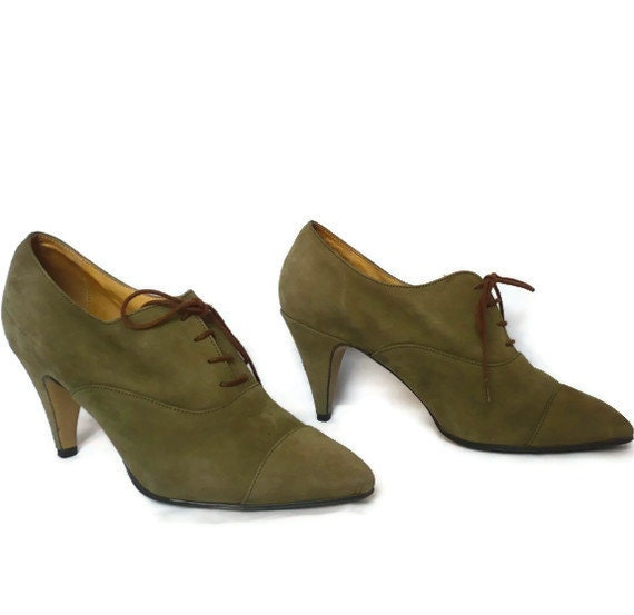 JIMMY French Vintage Olive Suede Lace up Oxford