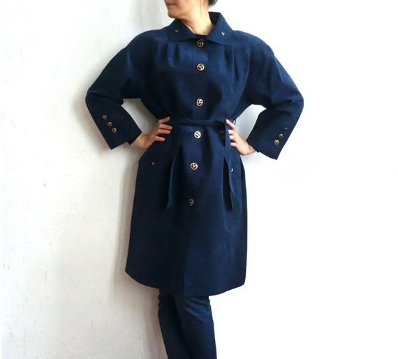 GERARD FRench Vintage Midnight Blue Alcantaara Coat