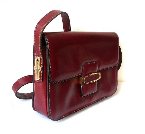 TANIA French Vintage Bordeaux Red Leather Shoulder Bag