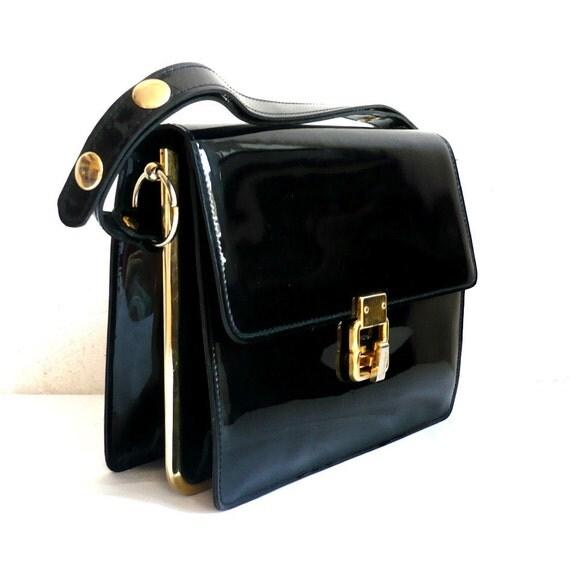 JOAN French Vintage 50s Black Glossy Handbag with Gold Frame