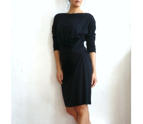 JAQUES French Vintage 80s Black Cotton Knit Dress