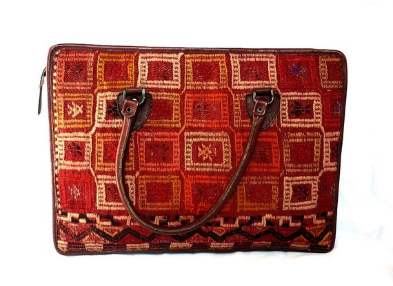 FRIDA French Vintage Handwoven Tapestry Leather Handbag / Briefcase