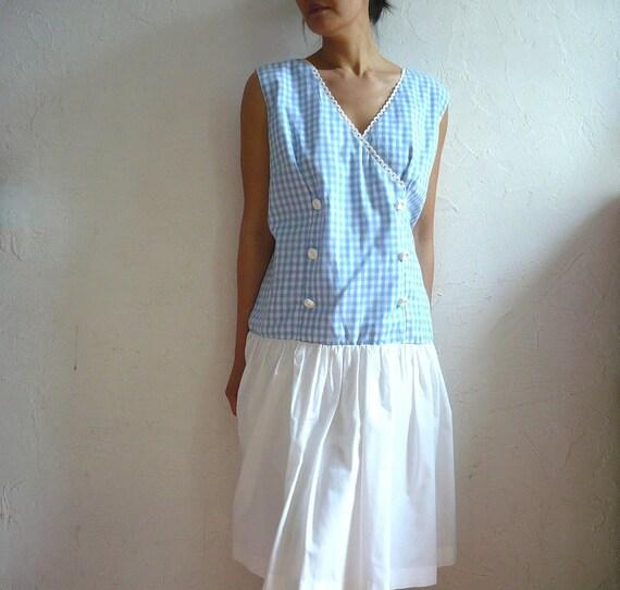 LOLA french Vintage 60s Checkered Cotton Dress XL