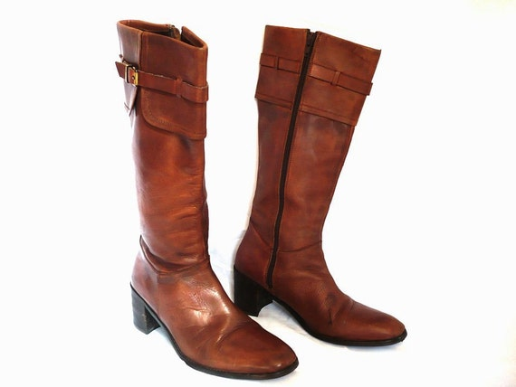EVA French Vintage Brown Leather Boots