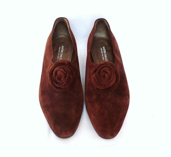 MARTINI French Vintage Brown Suede Low Heel Shoes with Rosette