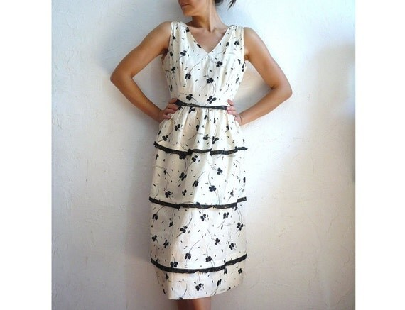 VALERIE French Vintage Ivory with black lace and Floral Print Midi Dress