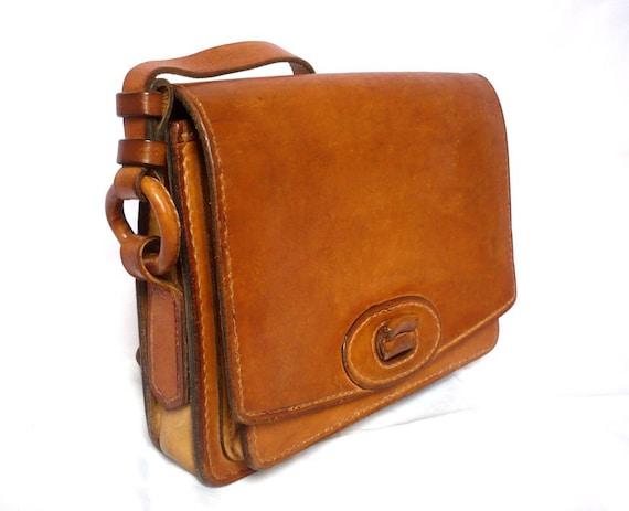 MICHEL French Vintage Tan Leather Shoulder Bag / Satchel