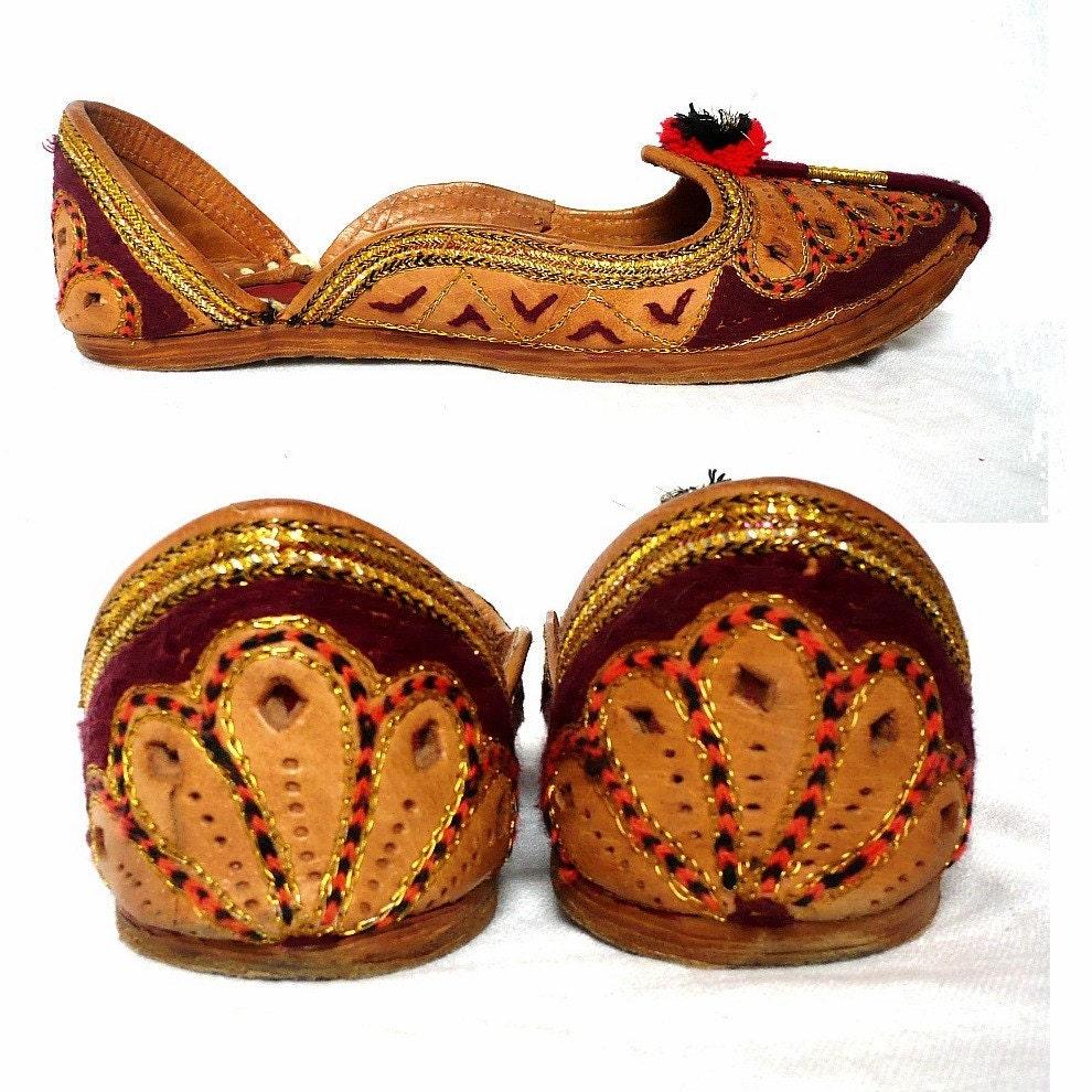 farida moroccan vintage handmade leather flat shoes