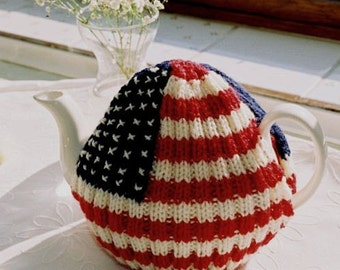 Stars and Stripes Hand Knitted Tea Cosy