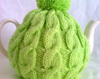 Knitted Tea Cosy - Lime Cable