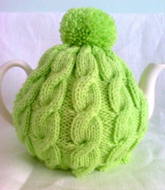 Knitting Pattern Cable Tea Cosy : Knitted Tea Cosy Lime Cable