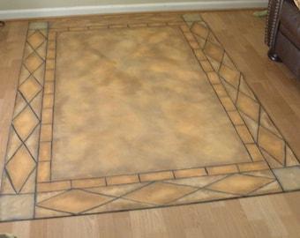 Tile Floorcloth Rug, Custom Canvas Floorcloth, Hand Painted Floorcloth, Tuscan Tile Floorcloth, Oilcloth Mat, Foyer Decor, Floor Rug
