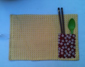 Reversible Roll-Up Lunch Mat/Placemat   (Yellow Daisy and Orange Floral)