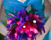 SALE Jewel Toned, Teal, Turquoise, Fuchsia, Pink, Cranberry, Crystal Feather Bouquet Made to Order just for you