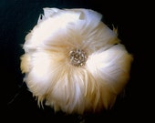 Champagne & Ivory feather flower fascinator - made to order