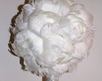Extra Large All Peony Feather Bridal Bouquet - made to order for YOU